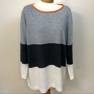 Vince Camuto Gray Ivory Color Block Sweater 1X